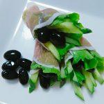 黒豆サラダの生ハム巻き